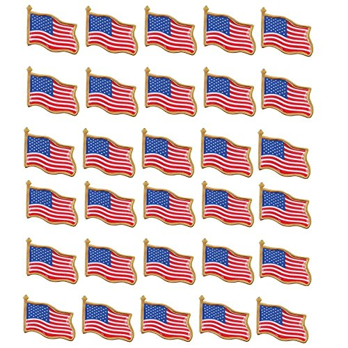 (30PCS American Flag Lapel Pin United States USA Waving Flag Pins)
