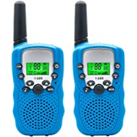 Walkie Talkies Set for Kids,T-388 Walkie Talkie up to 3 KM Long Distance,22 Channel 2 Way Radio,Walkie Talkies Speaker with Flashlight,Hand Held Mini Twin Walky Talky Toy for Children Gifts,Blue