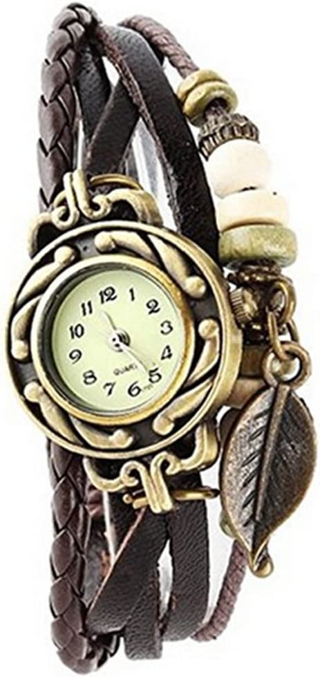 AIUIN 1X Reloj de Pulseras Tamaño Ajustable Colgante de Hojas Reloj de Pulsera de Cuero Trenzado