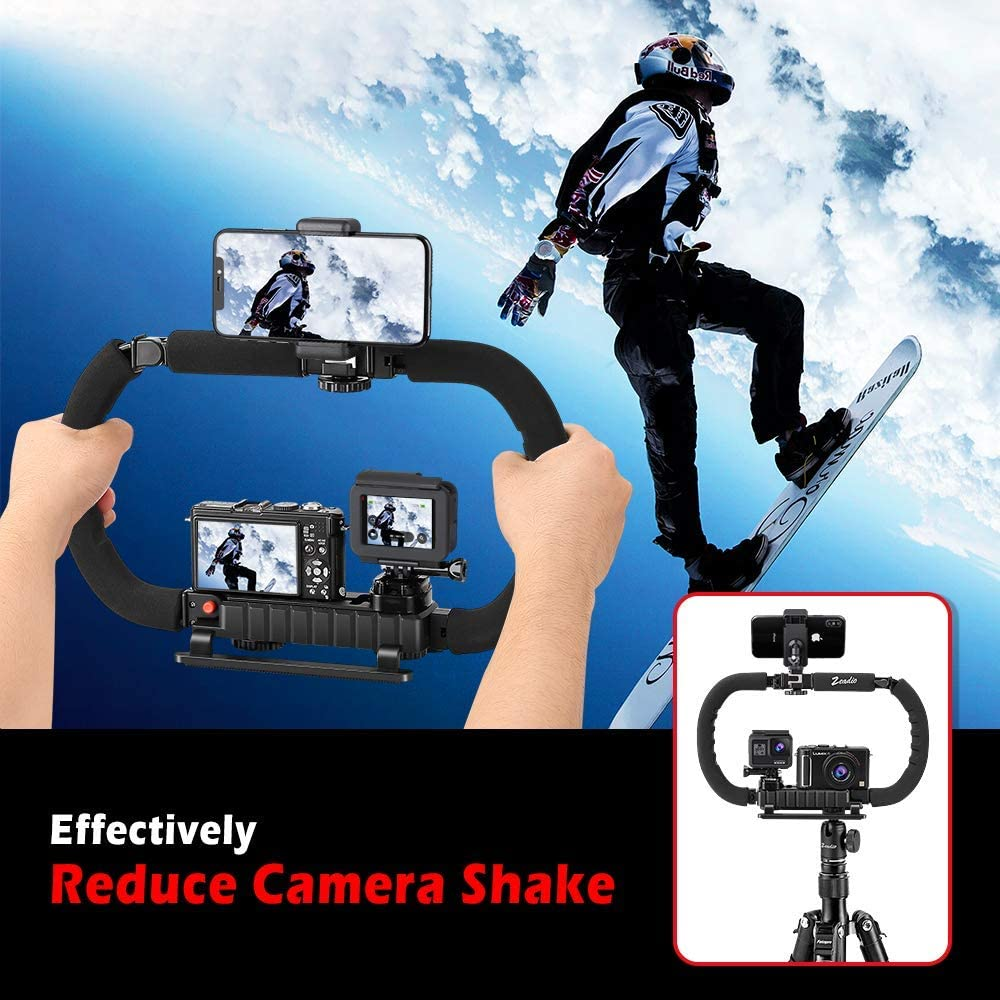 iPhone Samsung etc Zeadio Camera Smartphone Stabilizer Foldable Handle Grip Handheld Video Rig with Travel case for All GoPro Huawei Cell Phone DSLR Camcorder Camera