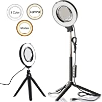 """6"""" Dimmable Ring Light Selfie Live Stream Lighting&Adjust Stick Stand& 3"""" Mirror&Phone Holder for Makeup Photography Mini LED Ring Lamp Outdoor Camera Photo Video Lighting Kit(3 Colors Lighting Mode)"""