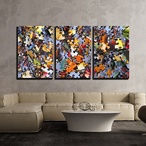 wall26 - 3 Piece Canvas Wall Art - Colorful Puzzle Pieces - Modern Home Decor Stretched and Framed Ready to Hang - 16