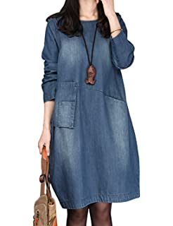 7bc2c53ce6 Yeokou Women s Baggy O-Neck Long Sleeve Pullover Midi Denim Dress with  Pockets