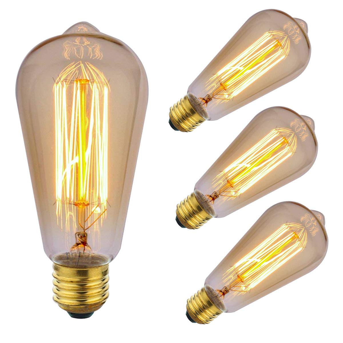 ZOOVQI LED Edison Bulbs 60W E27 Dimmable Vintage Light Bulbs ST64 2200K Warm White Incandescent Bulbs for Home Light Lamp Fixtures (4 Pack)