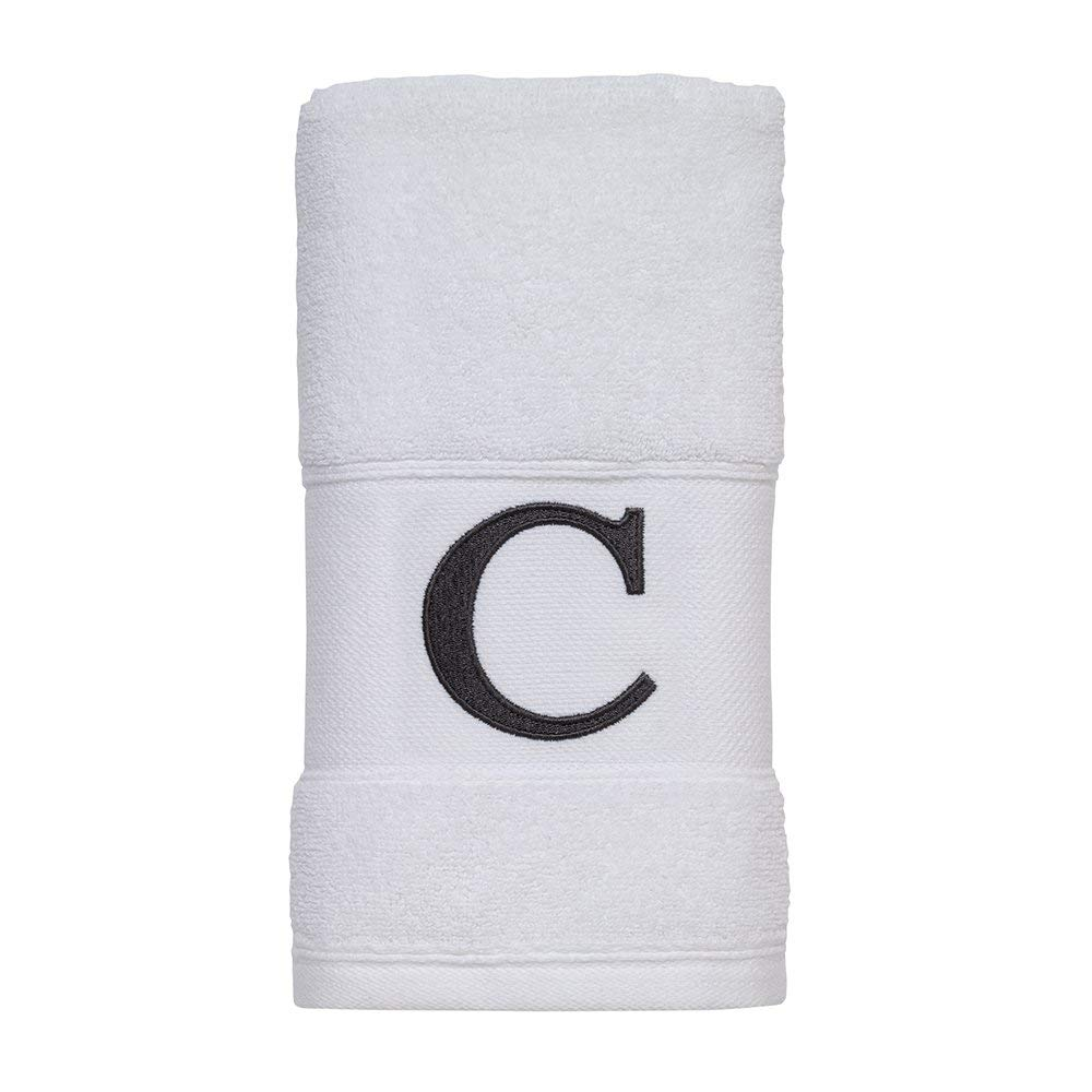 ifidex Monogram Cuff Towel with Block Initial White/Grey (g White Fingertip)