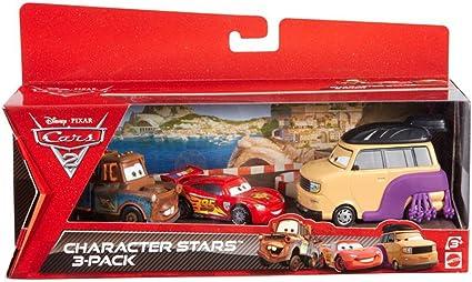 Cars Disney 2 - Juego de 3 Coches en Miniatura, Luchador de Sumo, Mate y Rayo Mcqueen (Mattel V6749): Amazon.es: Juguetes y juegos