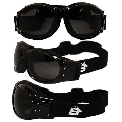 Birdz Eyewear Eagle Motorcycle Goggles (Black Frame/Smoke Lens): Automotive