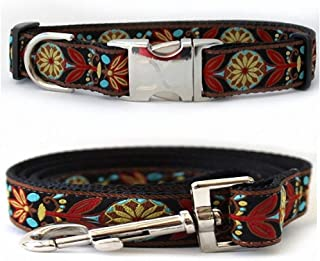 "product image for Diva-Dog 'Mandala Star Parisian Deco' Custom Medium & Large Dog 1"" Wide Dog Collar with Plain or Engraved Buckle, Matching Leash Available - M/L, XL"