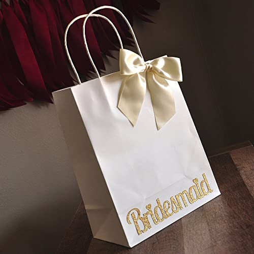 Amazon Com Bridesmaid Gift Bags Large White Paper Bags With Handle