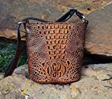MoonStruck Leather Concealed Carry Purses - CCW Handbags Butternut Crocodile Leather - Made in the USA - Bucket