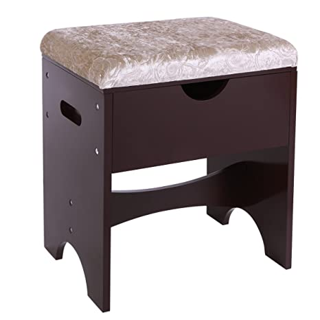 BEWISHOME Vanity Stool Piano Seat Makeup Bench With Upholstered Seat And  Storage, Brown FSD01Z