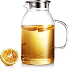 ONEISALL Heat Resistant Glass Beverage Pitcher with Stainless Steel Lid - Borosilicate Glass Water Carafe with Spout and Handle - Perfect for Homemade Juice & Iced Tea