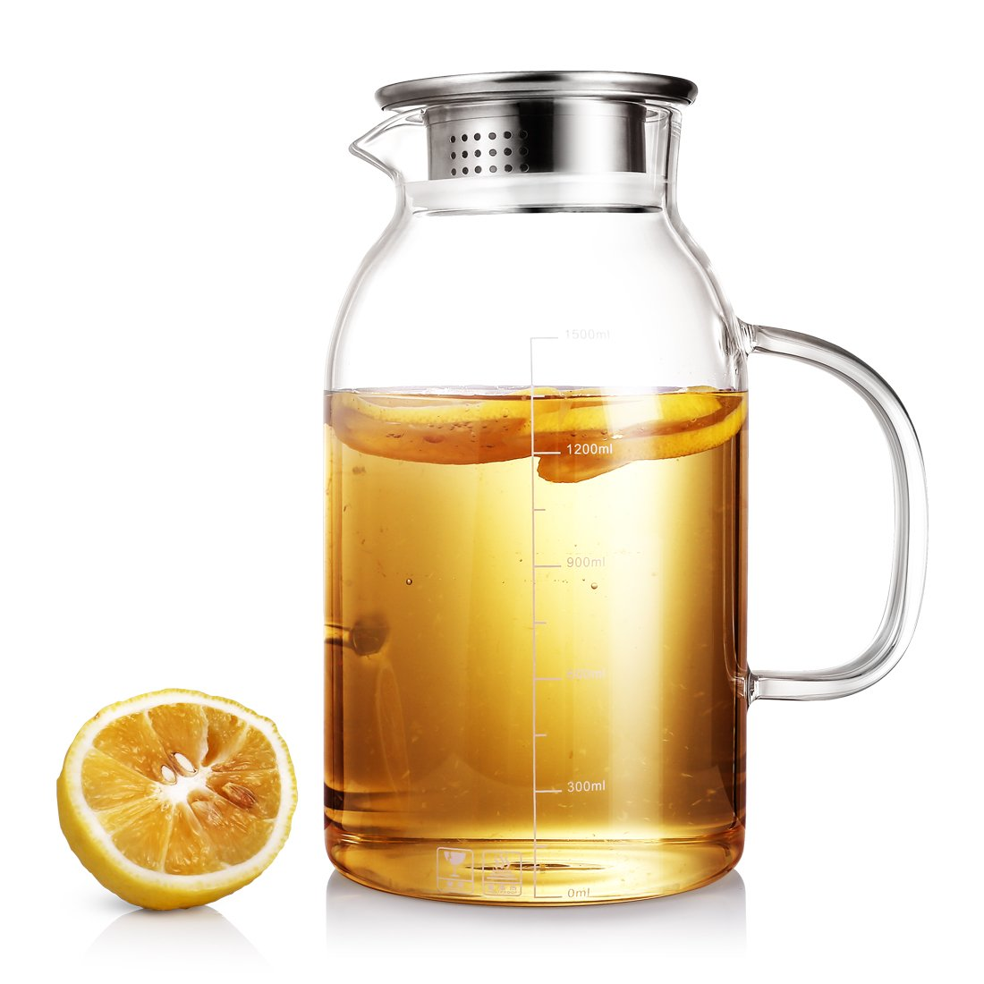 ONEISALL Heat Resistant Glass Beverage Pitcher with Stainless Steel Lid - Borosilicate Glass Water Carafe with Spout and Handle - Perfect for Homemade Juice & Iced Tea (1.8L)