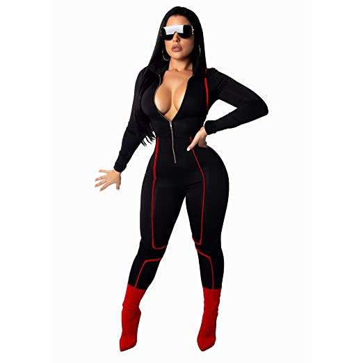 3011fb75e042 Amazon.com: Bodycon Jumpsuits for Women Party Night Sexy Clubwear Plus Size V  Neck Romper Long Sleeve Zipper Front Black S: Clothing
