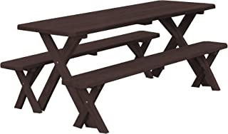 product image for Pressure Treated Pine 5 Foot Cross Leg Picnic Table with Detached Benches- Walnut Stain