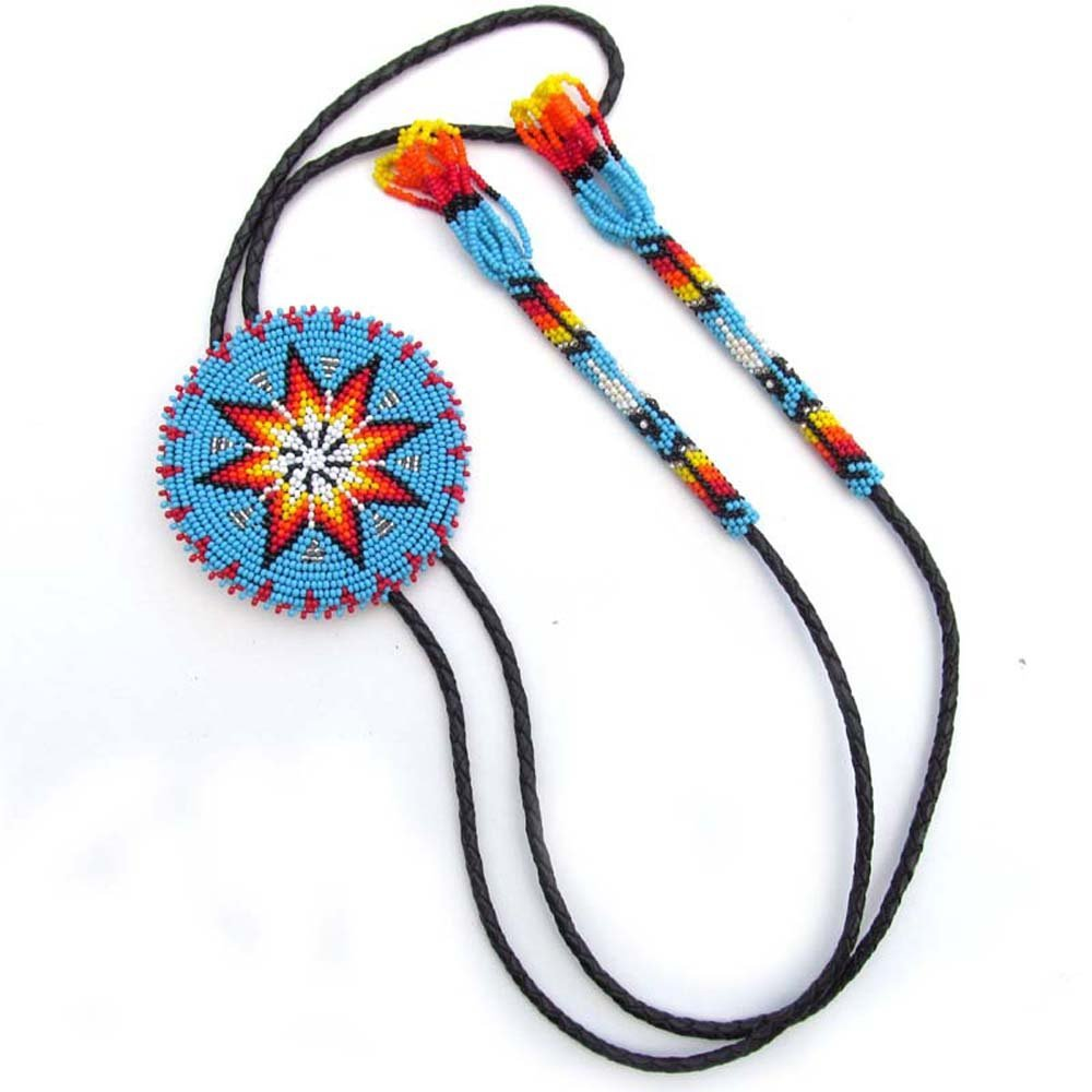 VivaApparel Handmade Turquoise Blue Beaded Bolo Tie 3 Inch Star Bead Work Non Native Original