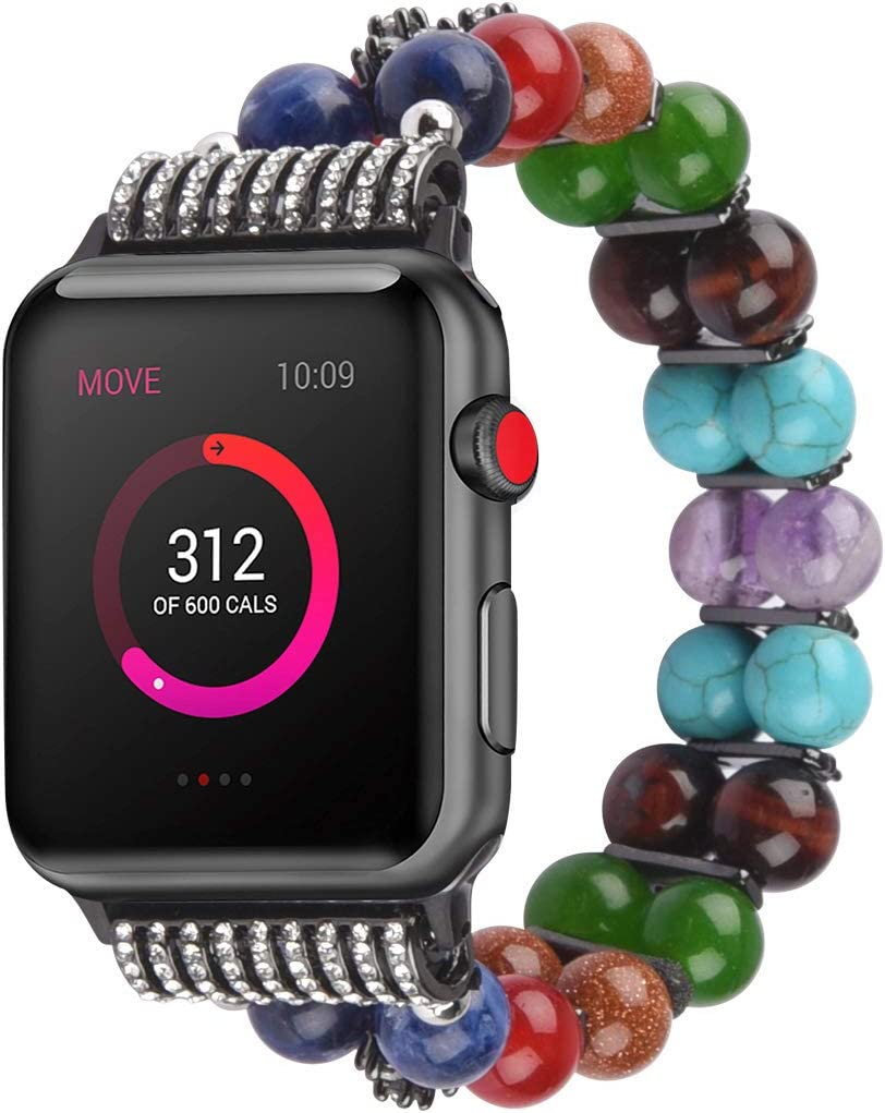 Wraps Beads Bracelet Watch Strap Compatible with Apple Watch Band 38mm/40mm 42/44mm for Women - Healing 7 Chakra Elastic Wristband Beads Adjustable Replacement for Apple Iwatch Series 6/5/4/3/2/1