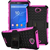 Heartly Flip Kick Stand Spider Hard Dual Rugged Armor Hybrid Bumper Back Case Cover For Sony Xperia E4 & E4 Dual E2115 - Cute Pink