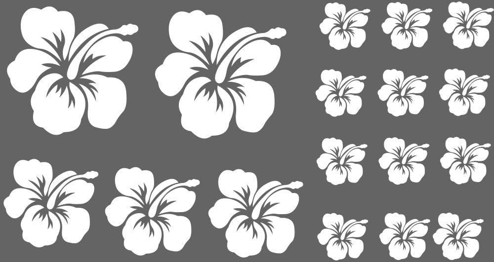 Xl Design Set O In Weiss 17 Stück Hibiskus Blüten Autoaufkleber Blumen Oder Wandtattoo Selbstklebende Aufkleber Fürs Auto Wandsticker Out Indoor Wandaufkleber Fensterbild Wählen Sie Aus 32 Farben Küche Haushalt