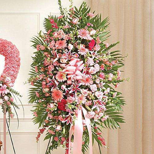 PlantShed - Deepest Sympathies Standing Spray - Pink - Flower Hand Delivery in NYC Local Manhattan (Pink Casket Spray Flowers)