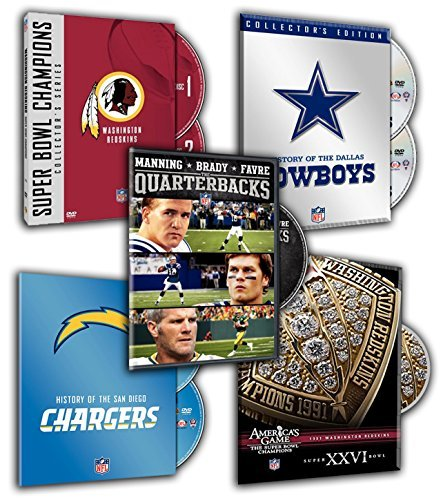 NFL Super Bowl Collection - Washington Redskins, History of the Dallas Cowboys, America's Game: 1991 REDSKINS (Super Bowl XXVI), Manning, Brady and Favre: Quarterbacks, History of the.. (5 DVDs Pack) (Redskins Washington Dvd)