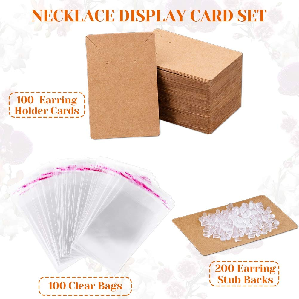 Necklaces 150 Pcs Blank Jewelry Display Cards Kraft Paper Necklace Earring Card Holder for Ear Studs Earrings 3.5 x 2.4 Inch