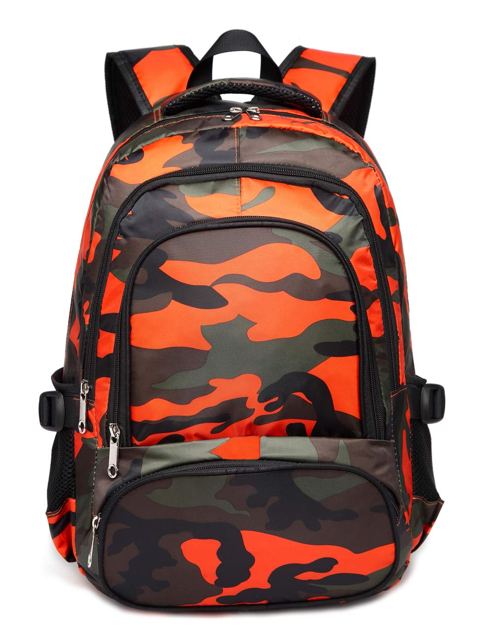 Kids Backpacks for Boys Camouflage Elementary School Bags Bookbags Lightweight Durable (Camo Orange)
