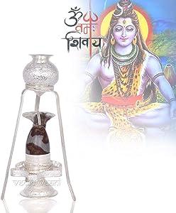 Vedic Vaani Shiva Shakti Pooja Shivalingam Abhishekum Worship Set of Yoni Base, Shiv Abhishek Pot & Snake in Pure Silver with Natural Narmada Shivling for Mahashivratri, Worship of Lord Shiva