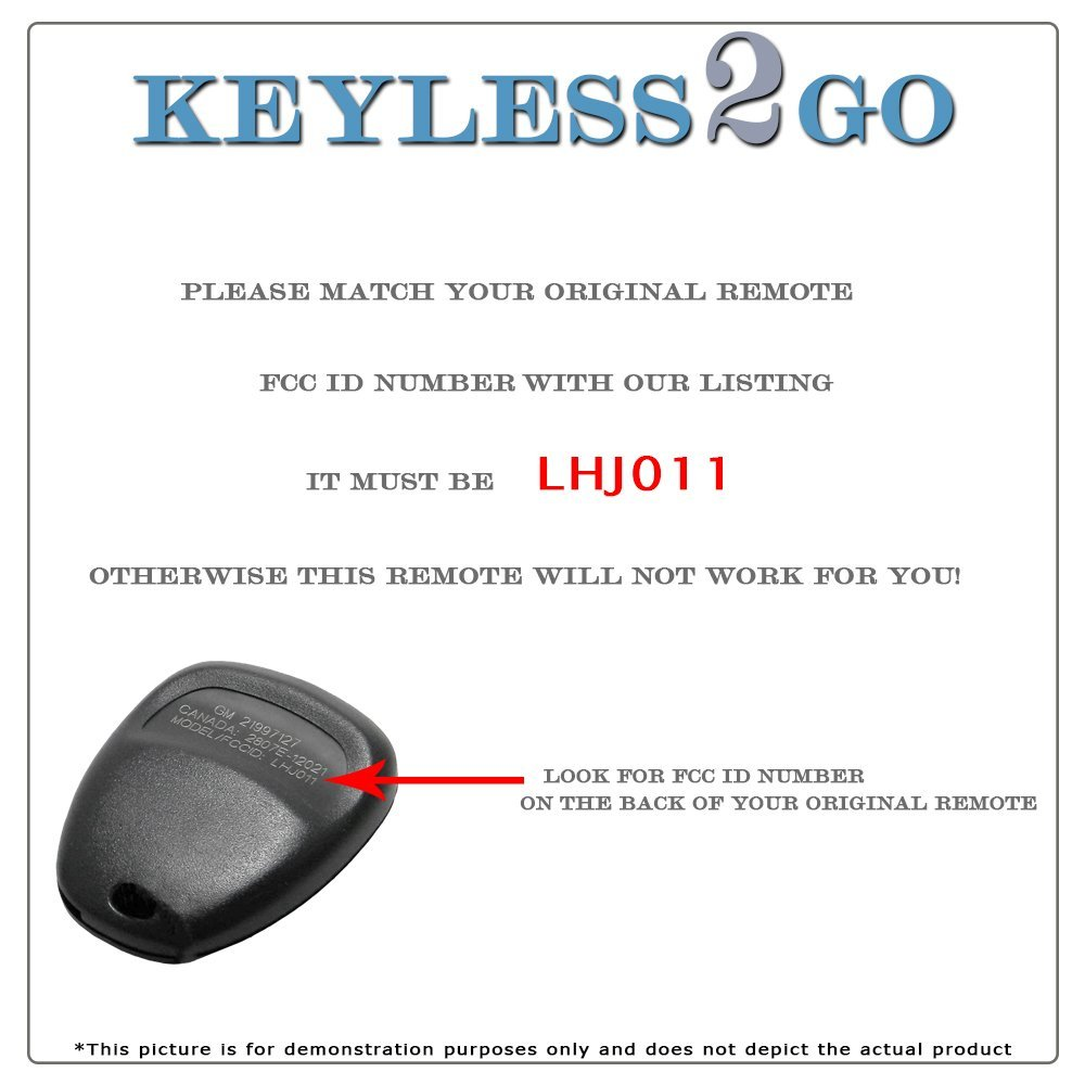 Keyless2Go Keyless Entry Car Key Replacement for Vehicles That Use 3 Button LHJ011 R-GM-LHJ011.go