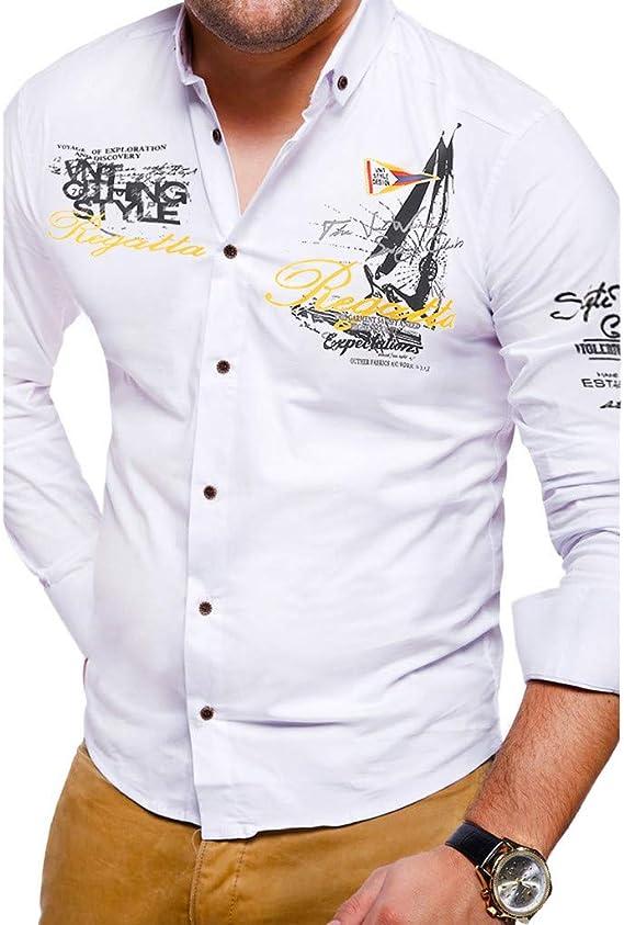 TIFIY - Camisa de Manga Larga para Hombre, diseño de Letra Estampada Blanco L: Amazon.es: Ropa y accesorios