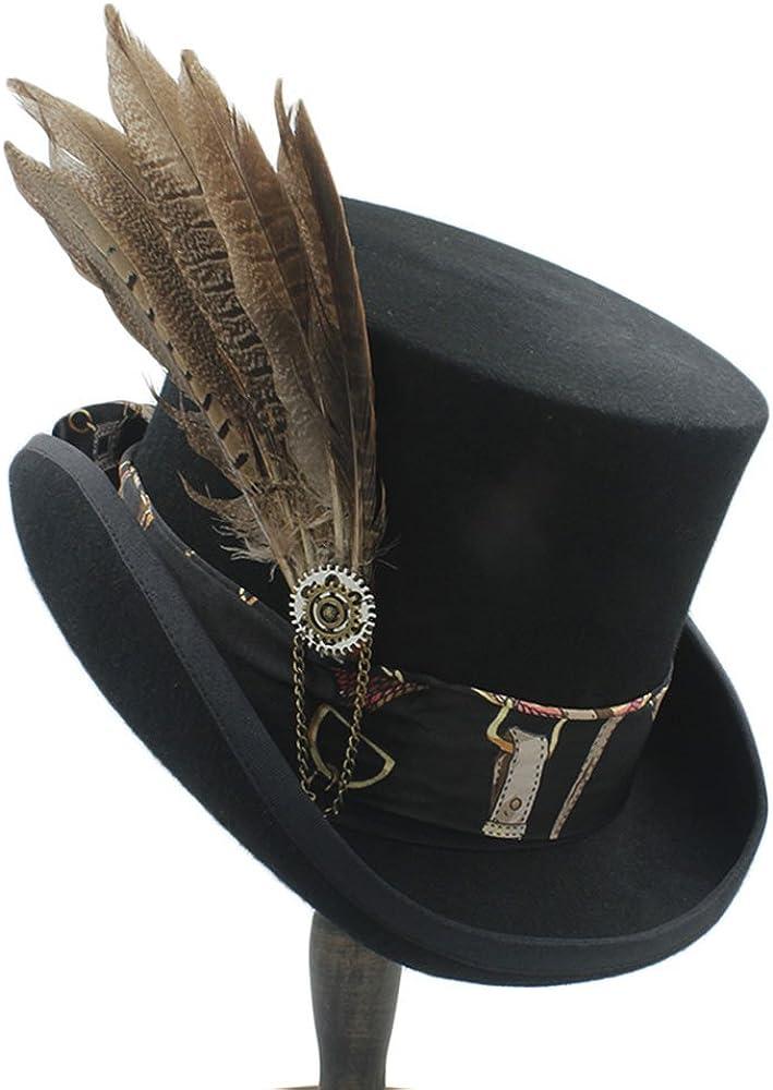 XYAL-Hats Xingyue Aile Sombrero de copa y gorras de vaquero, para las mujeres wen fodora steampunk sombrero con sombrero de engranaje (Color : 1, Size : 57CM)