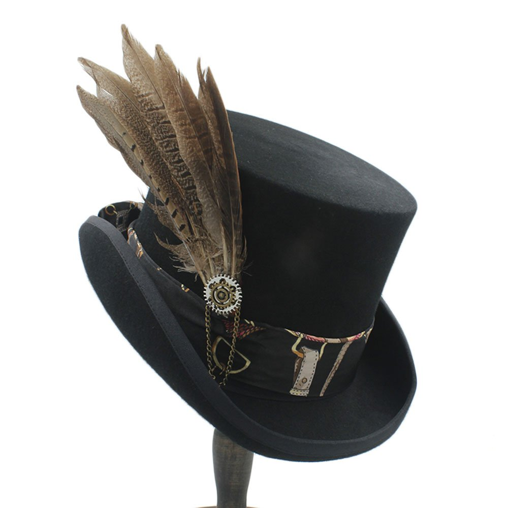 LL Women Top Hats Fodora Steampunk Hat with Gear Wheel Top Hat (Color : 1, Size : 55CM)