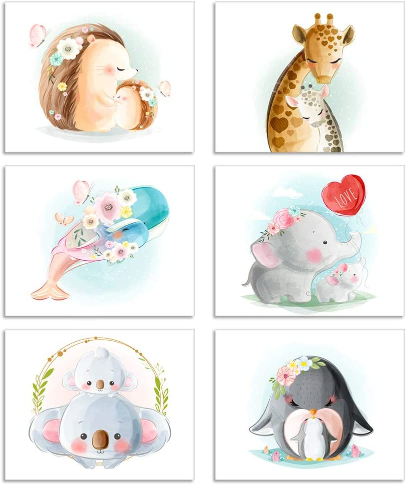 WHATSIGN Nursery Decor,Baby Animal Pictures Wall Art Prints,Set of 6 Posters 8