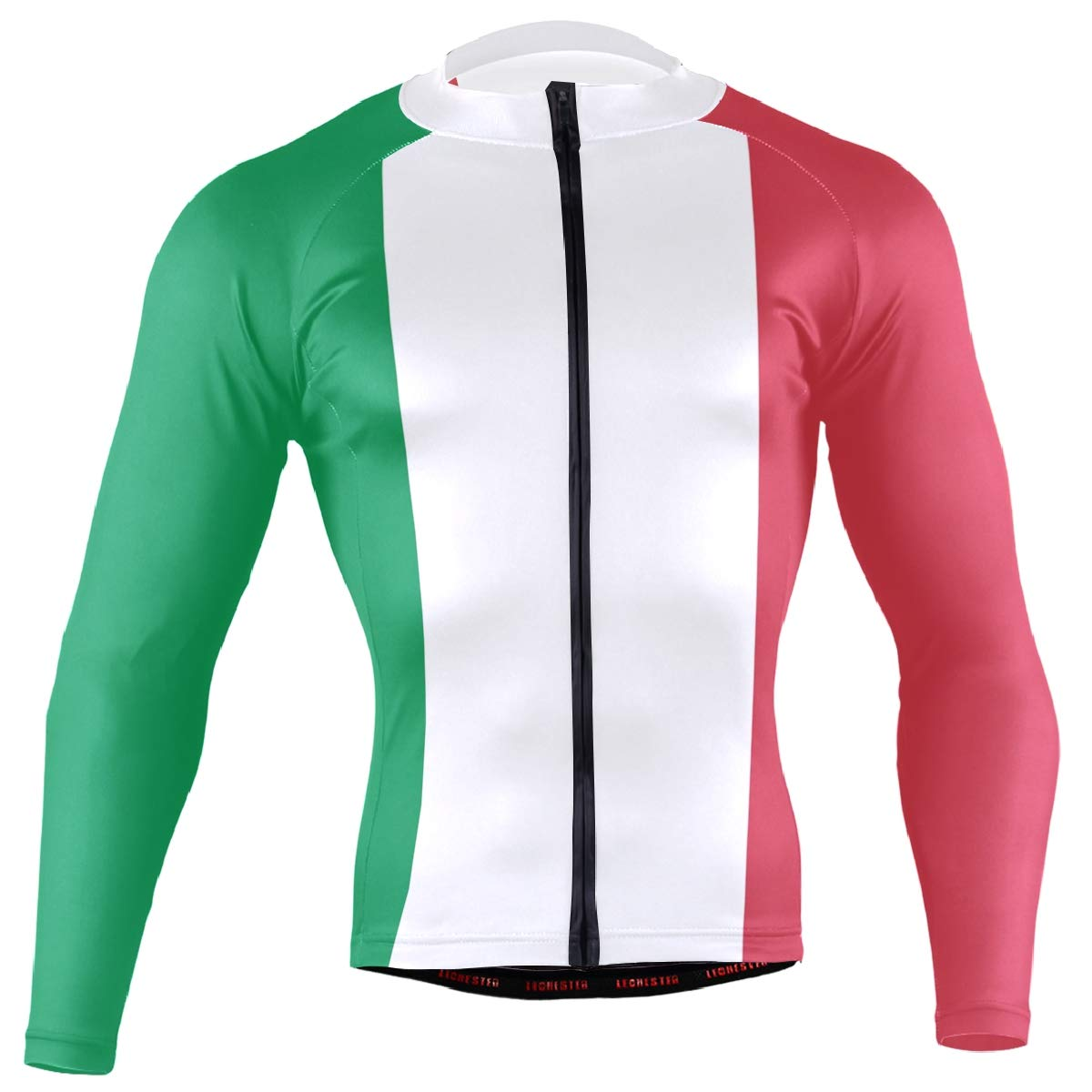 CHINEIN Men's Cycling Jersey Long Sleeve with 3 Rear Pockets Shirt Italy Flag