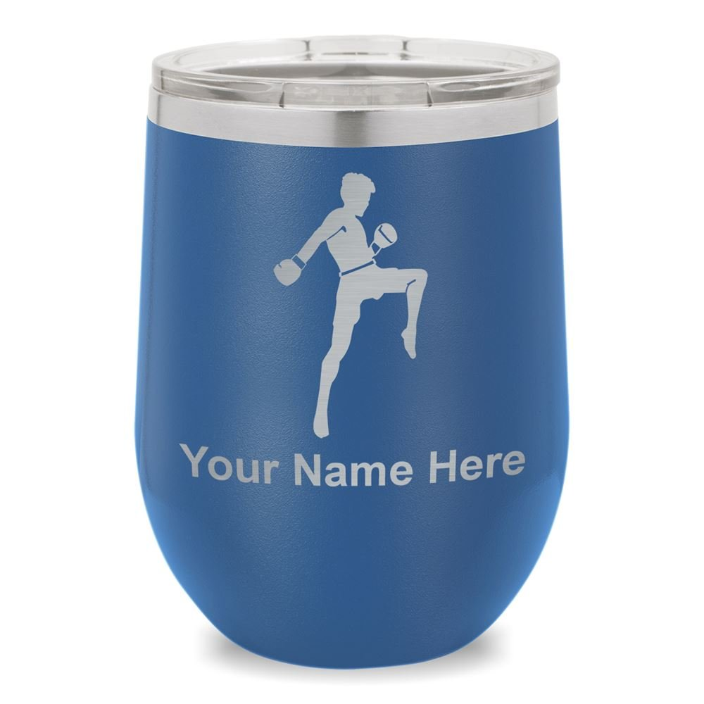 Wine Glass Tumbler, Muay Thai Fighter, Personalized Engraving Included (Dark Blue)