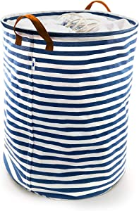 """SUPINEFOX US Large Collapsible Laundry Basket, Drawstring Waterproof Dirty Clothes Laundry Hamper,Foldable Linen Bin Storage Organizer with Handles for Kids Room,Toy Storage (17"""", Blue Strips)"""