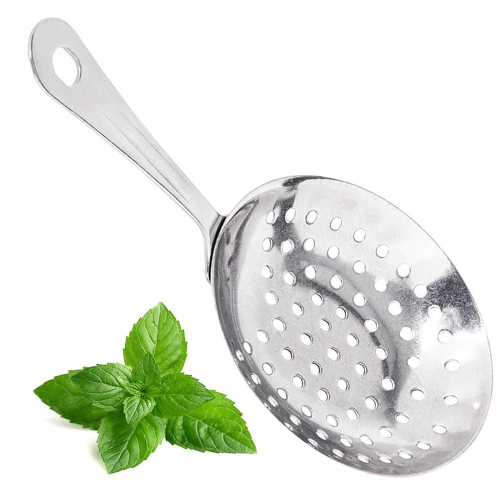 (Set of 12) Stainless Steel Julep Strainer by Tezzorio, 7-Inches Bar Strainer with Handle, Julep Cocktail Drink Strainer, Bartender Supplies/Bar Accessories