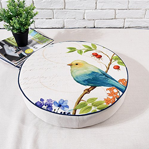 dream_home America Rural Bird and Flower Style Round Zafu, for Bay Window/Balcony/Floor/Table, 16 Inch by dream_home