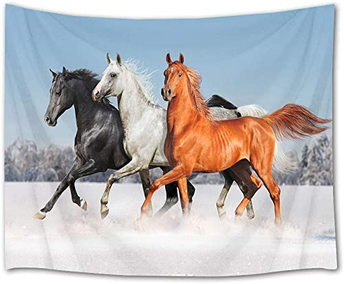 HVEST Galloping Horse Tapestry Horses Running on Snow in Forest Wall Hanging Animal Tapestries for Bedroom Living Room Dorm Party Wall Decor,92.5Wx70.9H inches