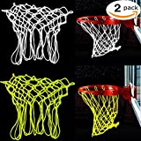 2 Pack Basketball Net Glow in The Dark Basketball Hoop Net Professional Heavy Duty Indoor Or Outdoor Basketball Sports Luminous Rim Net Replacement Fits All-Weather(White and Green)