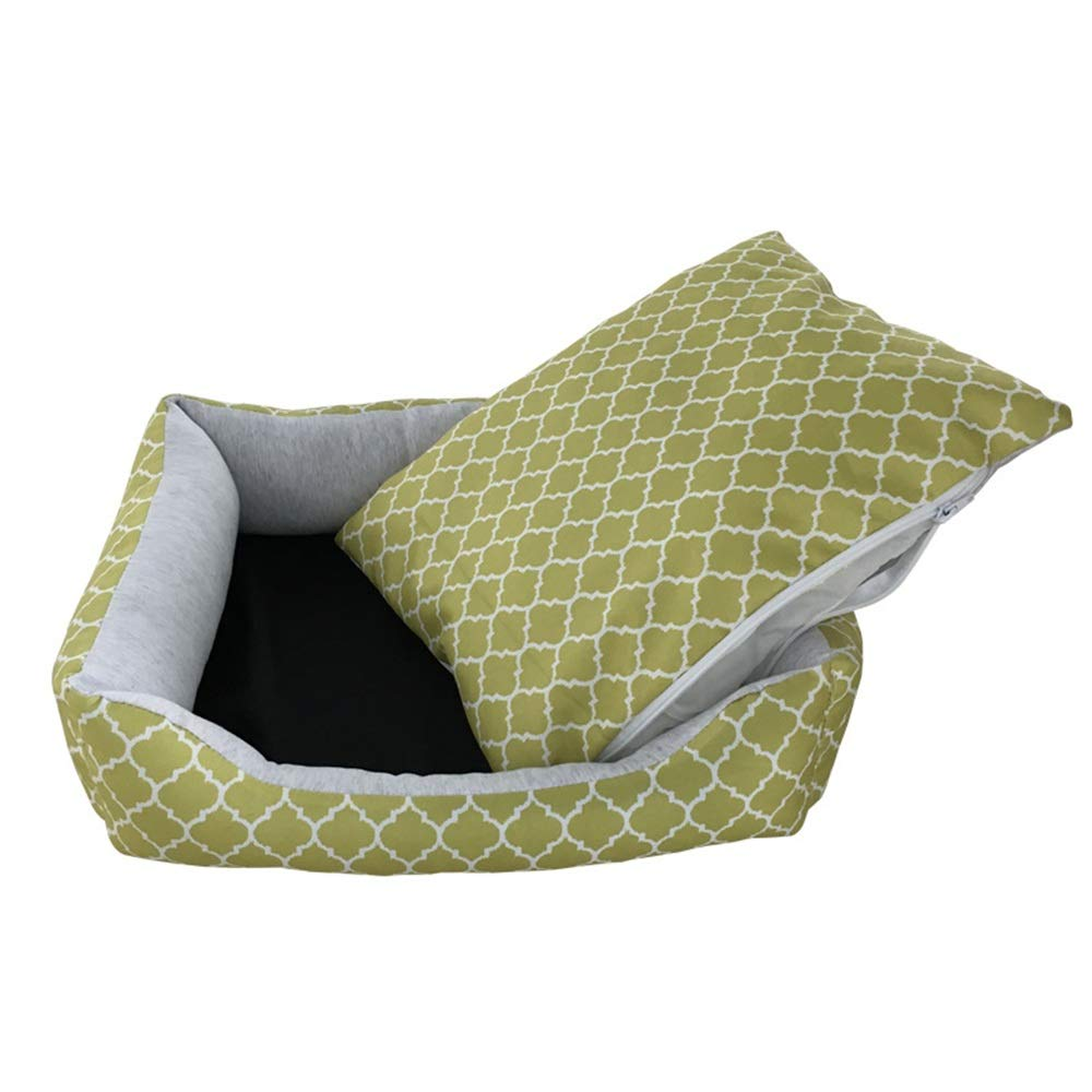 Turquoise Small Turquoise Small Warm pet nest Spring And Summer Dog Kennel Cat Litter Waterproof Printing Pet Nest Pad Removable And Washable Pet Supplies soft (color   Turquoise, Size   S)