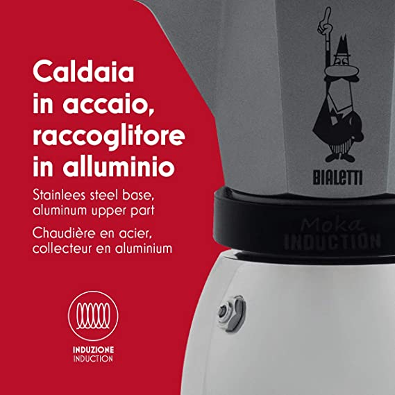 Bialetti Moka Induction, cafetera con base de acero para inducción, color blanco 6 tazas