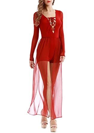 6ac23e69e33e Vin beauty Women s Long Sleeve Lace Up V Neck Romper Maxi Dress (S) Red