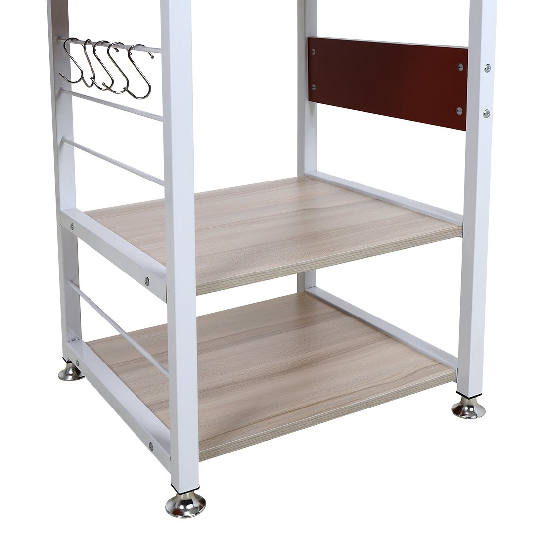 4 Tier Multipurpose Storage Shelf Bakers Rack, Metal Frame and Wooden Worktop for Kitchen by BestValue GO (Image #4)