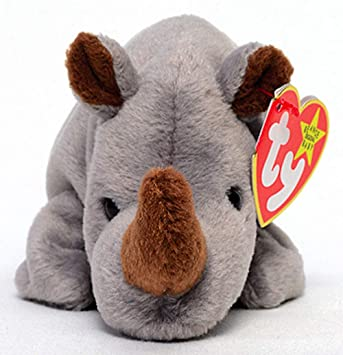 232928affe4 TY Beanie Babies Spike the Rhino Stuffed Animal Plush Toy - 8 inches long  by Ty