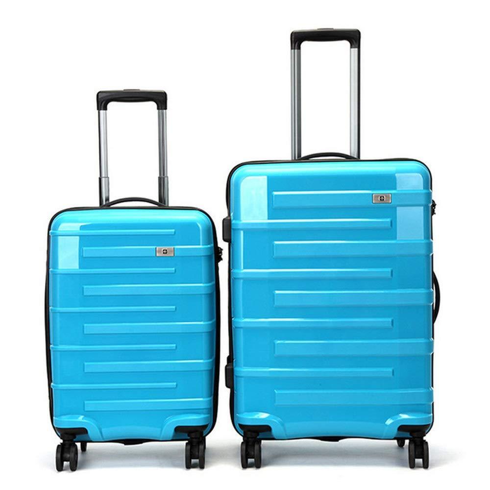 荷物ケース, スーツケース, 2ピース荷物入れ子セットTSAロック付き20インチ24インチスピナートラベル荷物トロリーケーススーツケースハードシェル軽量キャリーオンアップライトスーツケース360°サイレントスピナー多方向ホイール飛行機フライト&チェックイン 荷物エアボックススーツケース (色 : 青, サイズ : 20in+24in) B07SPT6XT3 青 20in+24in