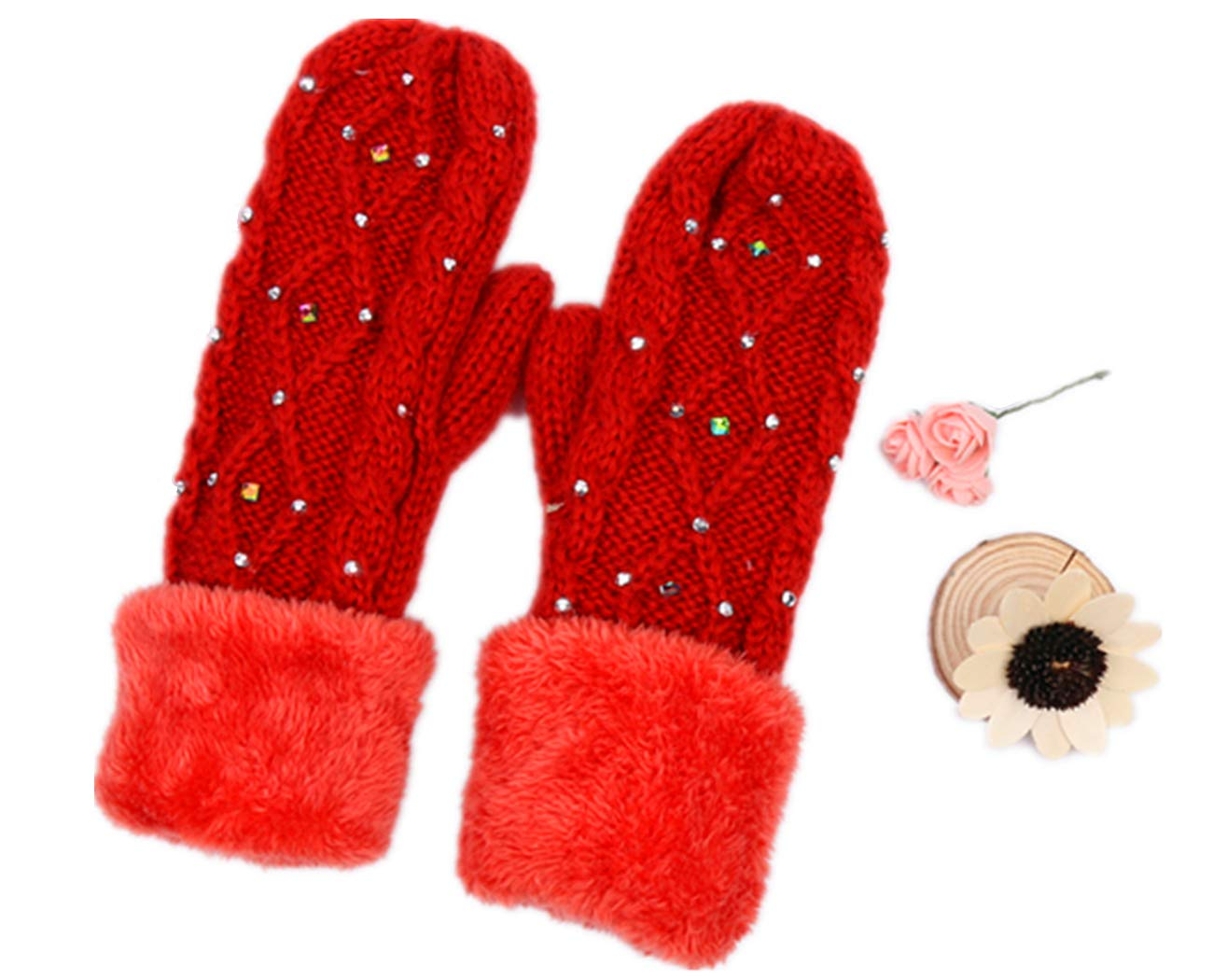 Knitting Mitten With Crystal Studs(GV027) (GREEN)
