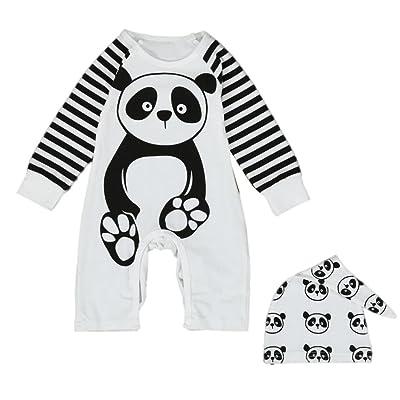 Coper Cute Baby Boys Girls Panda Print Romper Jumpsuit Hat Outfits