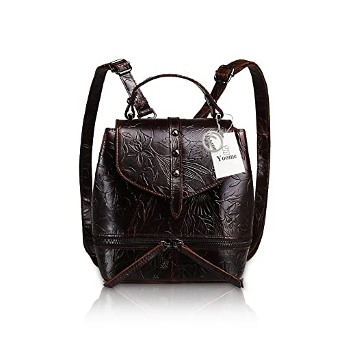 a5ad681b16ff Yoome Embossing Oil-Wax Leather Backpack Students Backpack Vintage Daypack  Purse Ladies Shoulder Bag Hndbag