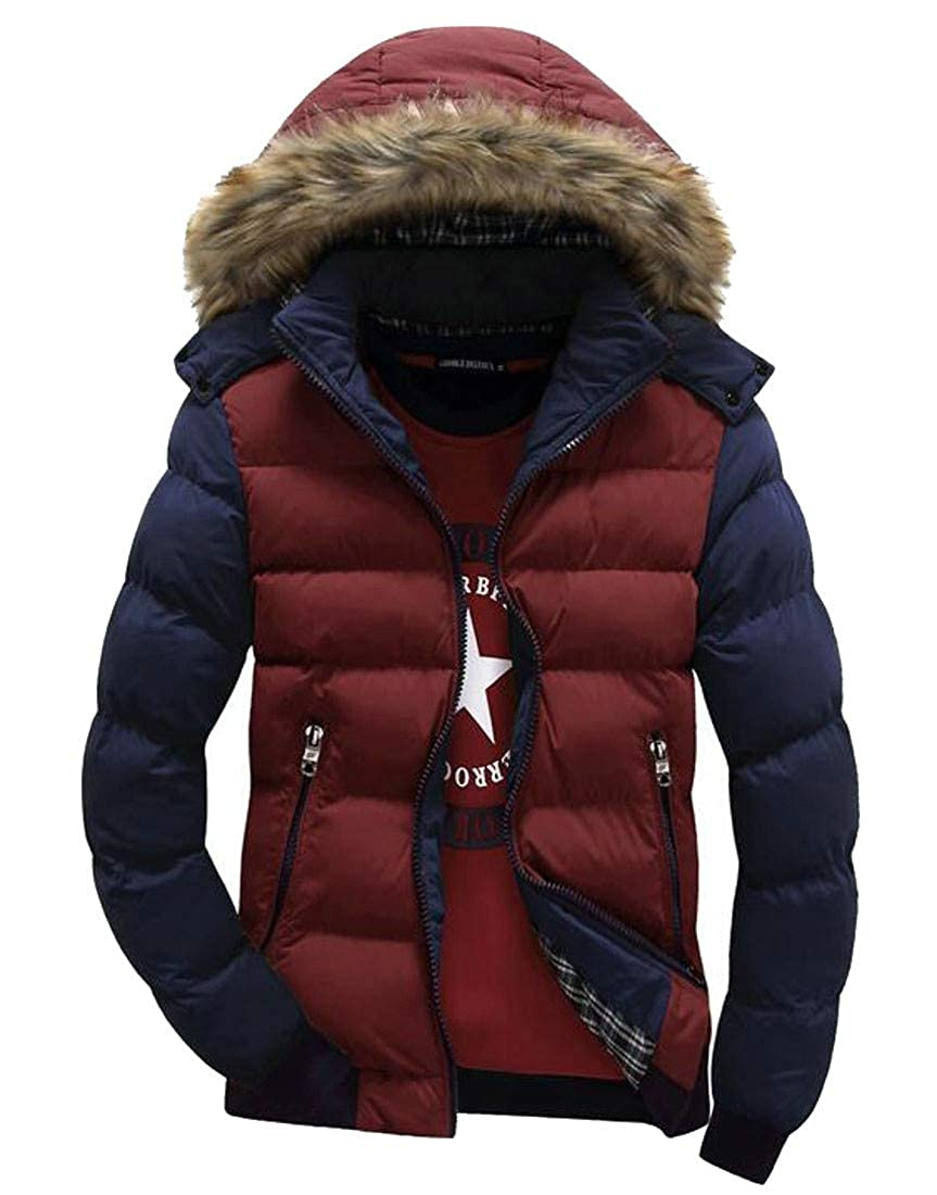 CMCYY Mens Loose Fit Warm Cotton-Padded Puffer Faux Fur Hooded Parkas Coat